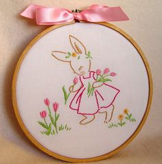 Springtime Bunny - hand embroidered hoop art