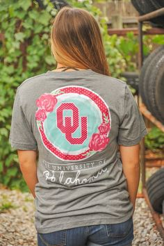 OU Roses & Polka Dot Circle Tee available at J. Lilly's Boutique or jlillysboutique.com