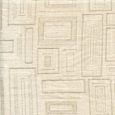 This is a bone off white embroidered squares linen drapery fabric, suitable for any decor in the home or office.Perfect for drapes or lightweight upholstery.v244PIEF