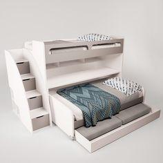 Gautreau Twin Bunk Bed over Full XL Sofa Bed, Table and Trundle Twin Futon, Futon Bunk Bed, Bunk Bed With Trundle, Bunk Beds With Stairs, Twin Xl Bedding, Twin Bunk Beds, Kids Bunk Beds, Mattress Covers, Bed Mattress