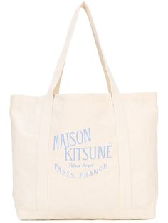 MAISON KITSUNÉ logo print tote. #maisonkitsuné #bags #hand bags #tote #cotton #