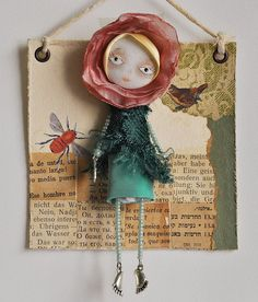 So cute. Dollage - Art fairy doll mixed media collage