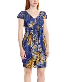 Look what I found on #zulily! Blue & Brown Snakeskin Empire-Waist Dress - Women #zulilyfinds
