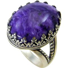 Charoite Sterling Silver Gallery Ring Size 8