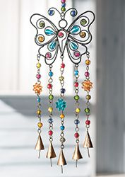Butterfly windchime with mixed beads