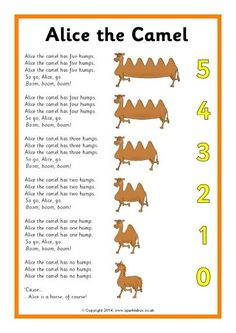 Finger Plays 6 Alice the Camel song sheet - SparkleBox Kindergarten Songs, Preschool Music, Preschool Learning, Number Songs For Preschool, Movement Songs For Preschool, Preschool Action Songs, Preschool Circle Time Songs, Preschool Fingerplays, Nursery Rhymes Preschool