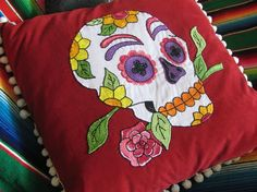 Day of the Dead Sugar Skull Pillow Embroidered Calavera