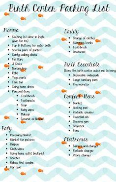 Birth Center Packing List