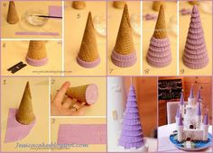 Castle cake: Step by Step Fondant Covered Roof. Images of difference Castle Cakes including a dragon. Cakes To Make, Fancy Cakes, How To Make Cake, Pink Cakes, Cake Decorating Techniques, Cake Decorating Tutorials, Fondant Cakes, Cupcake Cakes, Shoe Cakes