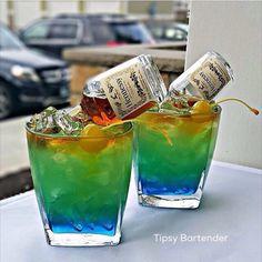 ml) Island Punch Splash of Blue Curacao 2 oz. ml) Pineapple Juice 1 oz. ml) Malibu Rum Splash of Lime Juice Splash of Hennessey topped with a. Malibu Rum, Malibu Coconut, Coconut Rum, Bartender Recipes, Alcohol Drink Recipes, Bartender Drinks, Alcoholic Drinks, Blue Curacao, Curacao Drink