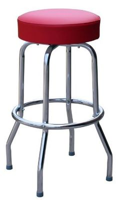 Classic Red Chrome 30 Inch Swivel Bar Stool - Made in USA by BudgetBarStools. Save 36 Off!. $44.95. This bar stool, upholstered in Floridian Red vinyl, makes a sturdy and long-lasting addition to any counter space or high top table.  The bar stool frame features a commercial nickel chrome plated finish.  This bar stool is manufactured to last and look great in your restaurant, , hotel, bar, diner, or home.  We can handle large orders very quickly.  Our bar stool features an American Made ...
