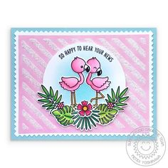 Sunny Studio Stamps Fabulous Flamingos Pink Glitter Striped Card by Mendi Yoshikawa (using Frilly Frames Stripes Card with Gina K. Rainbow Words, New Darlings, Little Company, Sunnies Studios, Studio Cards, Polka Dot Background, Flamingo Print, Pink Flamingos, Scrapbooking