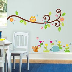 Owls on a Tree Branch Wall Decals for Kids Rooms - Owl Scroll Tree Branch Wall Stickers