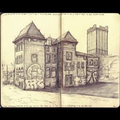 I bought a #moleskine #sketchbook. I love it. I'm filling it with drawings from observation with a pen, no pencil. I want to learn and improve.  #moleskine #sketchbook #berlin #sketch #drawing #pendrawing #pen #kreuzberg #stralau