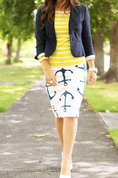 OBSESSED!! White & navy anchor skirt, yellow & white l/s shirt, navy blazer, white heels.