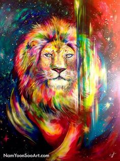 Gorgeous Lion of Judah Prophetic Art painting, in reds and pink and vivid bold colors! Powerful image of the King of Kings, boldly walking forward with energy swirls and breaking through the veil to His people. Please also visit www.JustForYouPropheticArt.com for colorful inspirational Prophetic Art. Thank you so much! Blessings! #PropheticArt