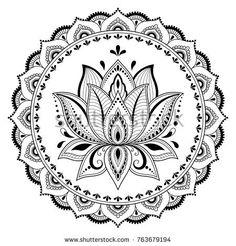 Rundmuster in Form von Mandala mit Stock-Vektorgrafik (Lizenzfrei) 763679194 - Circular pattern in form of mandala with lotus for Henna, Mehndi, tattoo, decoration. Decorative or - Lotus Henna, Mandala Lotus Flower, Lotus Flower Tattoo Design, Floral Mandala Tattoo, Lotus Design, Lotus Mandala Design, Mandala Print, Estilo Mehndi, Arte Mehndi