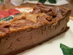 Ginny's Low Carb Kitchen: CHOCOLATE AND PEANUT BUTTER SWIRL CHEESECAKE