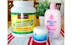 Antibacterial Moisturizing Lotion      16 ounces baby lotion (if you have an aversion to baby lotion, pick another lotion)     8 ounces coconut oil (solid form, not melted)     8 ounces vitamin E cream  Mix together with handheld mixer until it resembles icing.