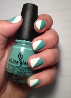 Cute summer nail design! Mint green and white! Use regular tape to get straight lines on nails! Nail color: China Glaze #635: For Audrey.