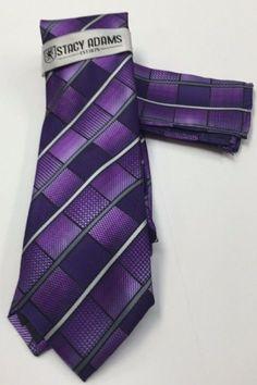 Stacy Adams Tie & Hanky Set Purple, Gray & White Men's Hand Made 100% Microfiber #StacyAdams #Tie