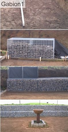 Stepped gabion wall construction sequence http://www.gabion1.com
