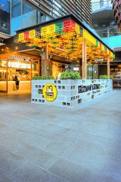 Guzman y Gomez Small Restaurant Design, Restaurant Interior Design, Cafe Interior, Interior And Exterior, Kiosk Design, Cafe Design, Booth Design, Store Design, Villa Mix