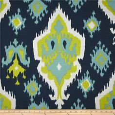 To recover office chair - Blue Green Ikat Fabric yardage Upholstery Premier Prints navy chartreuse lime canal slub home decor by the Yard - 1 yard or more -SHIPS FAST Modern Upholstery Fabric, Upholstery Trim, Upholstery Nails, Ikat Fabric, Wall Fabric, Upholstery Cleaning, Cotton Fabric, Upholstery Cushions, Fabric Shop
