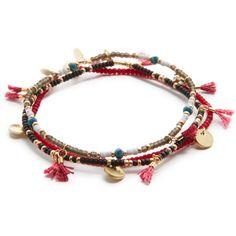 Shashi Asa Bracelet Set ($74) ❤ liked on Polyvore featuring jewelry, bracelets, glass bead jewelry, shashi, tassel charms, glass bead charms and charm bangles
