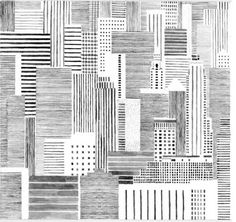 Hannah Waldron. Black and white line drawing. Skyline. High rise buildings…