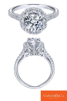 A stunning Amavida 18k White Gold Diamond Halo Engagement Ring by Gabriel & Co. This classy and bold statement has such flawless details and designs along with all the diamonds put into this beauty! This stunning style has the perfect sparkle and shine.