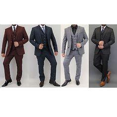 a hombres cuadros traje de 3 piezas cavani diseno tweed blazers ajustado  chaleco 0f8590d35c0