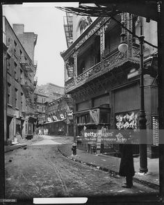Doyers Street at Bowery, Chinatown, New York, New York, mid 1910s.