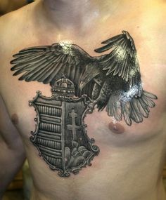 Mole Tattoo, D Tattoo, Tattoo Und Piercing, Body Art Tattoos, Hungarian Tattoo, St Michael Tattoo, Some Ideas, Coat Of Arms, Traditional Tattoo