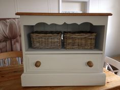 Traditional Solid Pine Farmhouse Tv Unit Cabinet Hand Painted In Annie Sloan