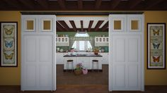 Sliding door by A classic design kitchen with products like the Anolon Utensils, Whisk and Meyer Circulon 12 Cup Muffin Tin Sliding Doors, Garage Doors, Classic Living Room, Kitchen Design, Kitchen Cabinets, Outdoor Decor, Home Decor, Sliding Door, Decoration Home