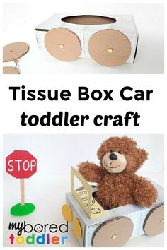 Tissue Box Car Toddler Craft! #myboredtoddler #crafts #toddlers #activities #indooractivities Indoor Activities For Toddlers, Educational Games For Kids, Science For Kids, Infant Activities, Toddler Fun, Toddler Crafts, Preschool Crafts, Crafts Toddlers, Crafts For 3 Year Olds