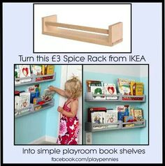 Helps them see the books better. Different ideas for organizing rooms. #kidsrooms #organizingbedrooms