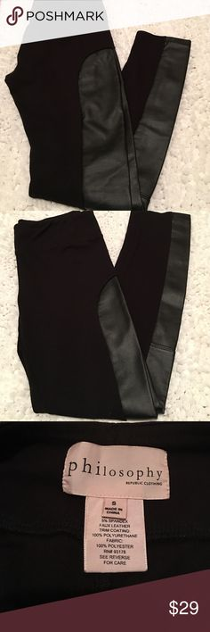 """Offers Welcome Philosophy Cotton leggings with Faux side panels.NWOT- Inseam 25"""" Philosophy Pants Leggings"""