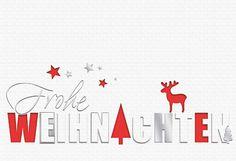 #Weihnachtskarte weiß/rot, Frohe #Weihnachten, inkl. Kuvert.