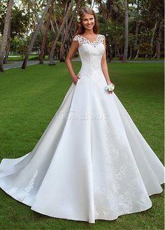 Robe de mariée traîne satin sexy naturel a-ligne - photo 1