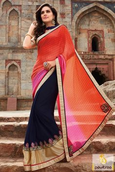 Fashionable Party Wear Silk Saree in Orange Color #saree, #designersaree more: http://www.pavitraa.in/catalogs/trendy-party-sarees-collection-for-farewell/?utm_source=rn&utm_medium=pinterestpost&utm_campaign=24jun