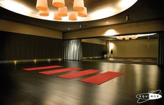 Yoga Room, Love the Ceiling Lighting & Flooring.  I think a chevron pattern flooring would be cool.