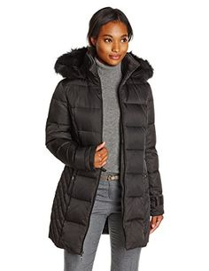 Kenneth Cole Womens Chevron Side Panel Down Coat with Faux Fur-Trim Hood *** Check this awesome product by going to the link at the image. (This is an affiliate link)