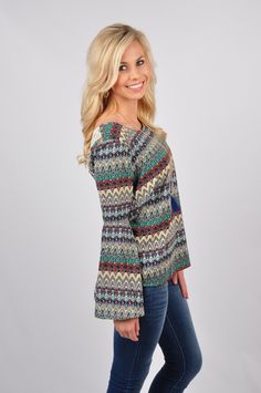 You're guaranteed to be noticed At First Glance in our top! This top features a design unlike any other. The bell sleeves and round neck help make this top unique. And if that isn't enough, this top also features a crochet woven back! This top is 100% Polyester. The contrast is 100% Cotton. Hand-wash cold. Flat dry.