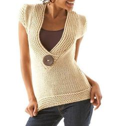 pattern: buttony sweater by Ka Crochet Jacket, Knit Crochet, Easy Crochet Patterns, Knitting Patterns, Jumper Patterns, Summer Knitting, Knit Fashion, Crochet Clothes, Pull