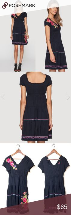 Johnny Was JWLA Flora Black Tiered Dress Johnny Was JWLA Flora Black Tiered Dress. Signature Johnny Was embroidery. Cotton. Scoop V-Neck with short sleeves. Only worn a couple of times and in great condition. Size L. Johnny Was Dresses