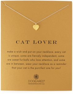 Dogeared Cat Lover Gold-Dipped Pendant Necklace