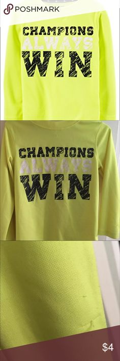 """💛 Carters """"Champions Always Win"""" Top (4T) 💛 Preowned/ has a few threads piling. Carters 4T highlighter neon yellow """"champions always win"""" top. Dri-fit material Carter's Shirts & Tops Tees - Long Sleeve"""