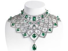 The House of Fabergé recently unveiled the Romanov necklace, a breathtaking emerald and diamond collar that is a reworking of an early jewel from the House of Fabergé, recreated and contemporized from an archival gouache design dated 1885. (via Fabergé and Gemfields Create Fair Trade Emerald Necklace)